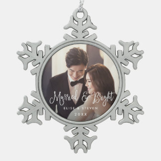 Married & Bright | Wedding Photo Snowflake Pewter Christmas Ornament