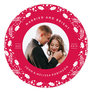 MARRIED & BRIGHTJUST MARRIED PHOTO CHRISTMAS CARD