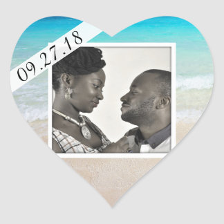 Married by the Sea Photo Heart Sticker