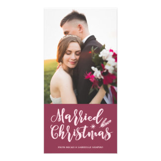 Married Christmas 4x8 Photo Card | Mauve