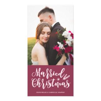 Married Christmas 4x8 Photo Card | Mauve