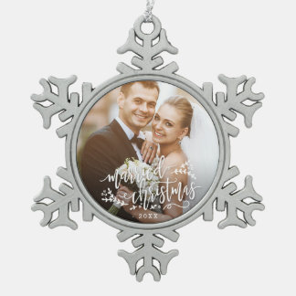 Married Christmas Custom Photo Christmas Ornament
