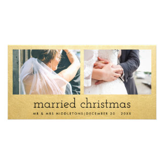 Married Christmas Faux Gold Foil Two Photo Wedding Photo Card Template