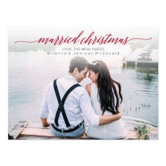 Married Christmas Newlywed Photo Postcard