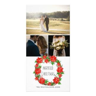 Married Christmas Red Poinsettia Christmas Wreath Card