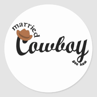 married cowboy yeehaw round stickers