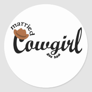 married cowgirl yeehaw round sticker
