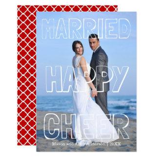 Married Happy Cheer White Block - Christmas Card 13 Cm X 18 Cm Invitation Card