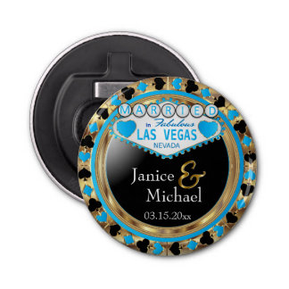 Married in Las Vegas Style - Baby Blue Bottle Opener