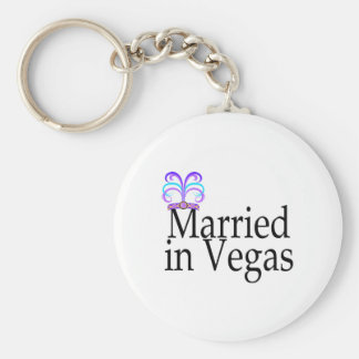 Married In Vegas Basic Round Button Key Ring