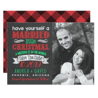 Married Little Christmas Photo Save The Date Card