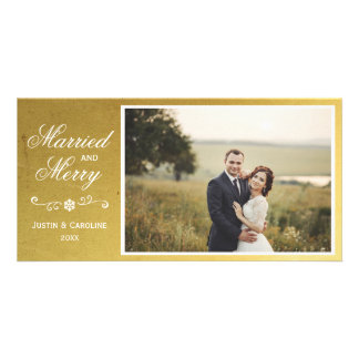 Married & Merry Christmas Photo Elegant Faux Gold Photo Greeting Card