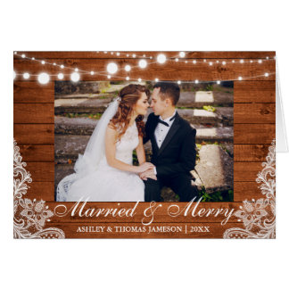 Married & Merry Holiday Rustic Fold Card