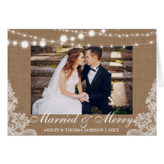 Married & Merry Holiday Rustic Photo Fold Card
