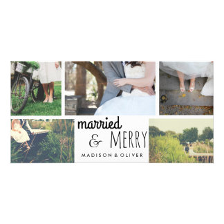 Married & Merry Holiday Wedding Five Photo Collage Photo Card Template