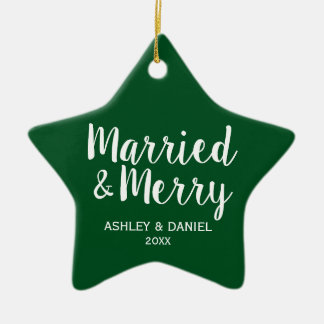 Married & Merry Newlywed Christmas Green Star Ceramic Ornament