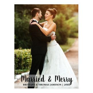 Married & Merry Newlywed Wedding Photo Postcard W