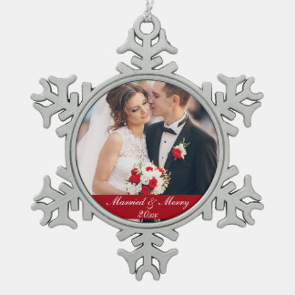 Married & Merry Wedding Photo Ornament SW