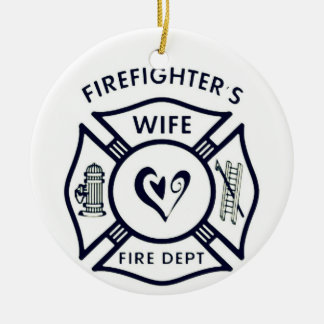 Married to a hero round ceramic decoration