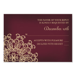 MARROON AND GOLD INDIAN RESPONSE RSVP CARD
