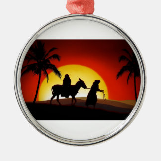 Marry and Joseph walking to Bethlehem Silver-Colored Round Decoration