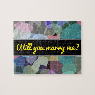 Marry me? + Abstract Multicolored Blotch Pattern Jigsaw Puzzle
