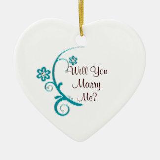 Marry Me Aqua Flower Engagement Ornament