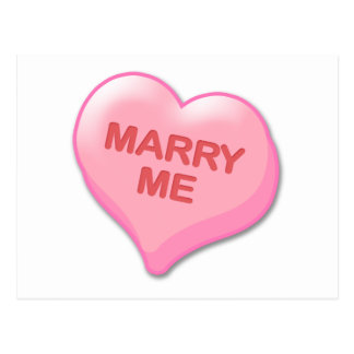 Marry Me Candy Heart Postcard