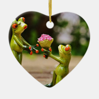 Marry Me cute funny frogs Ceramic Heart Decoration