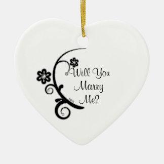 Marry Me Faux Diamond Flower Engagement Ornament