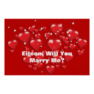 Marry Me Red Hearts Lotta Love Custom Poster