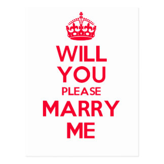 Marry Me Red on White Postcard