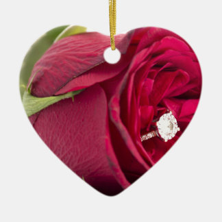 Marry me? Red Rose with diamond ring Ceramic Ornament