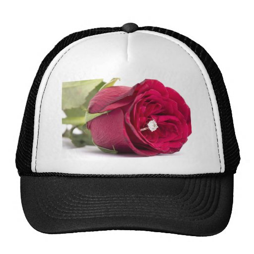 Marry me? Red Rose with diamond ring Mesh Hat