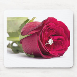 Marry me? Red Rose with diamond ring Mouse Pad