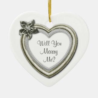 Marry Me White Ceramic Heart Engagement Ornament
