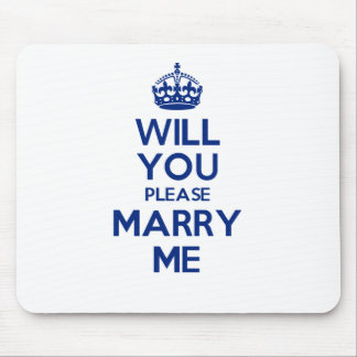 MarryMe Blue on White Mouse Pad