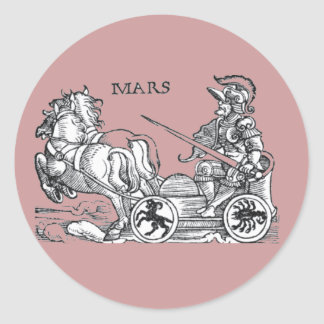 Mars Ares God of War Greek Roman Chariot Cartoon Round Sticker