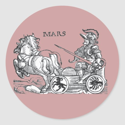 Mars Ares God of War Greek Roman Chariot Cartoon Round Stickers