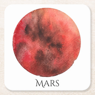 Mars Planet Watercolor Coaster