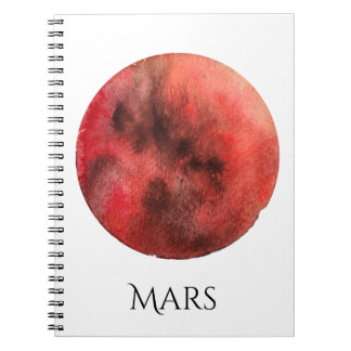 Mars Planet Watercolor Notebook