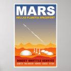 Mars Retro Space Travel Illustration Poster