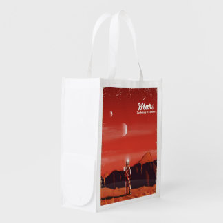 Mars Science fiction vintage travel poster Reusable Grocery Bag