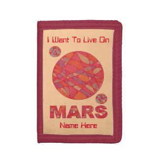 Mars The Red Planet Space Geek Solar System Fun Tri-fold Wallet