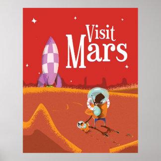 Mars Voyage vintage travel poster