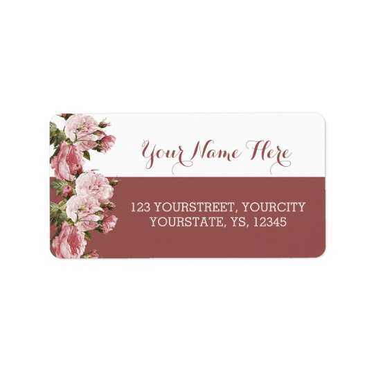 Marsala address labels Blush roses