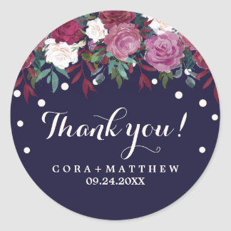 Marsala and Burgundy Floral on Navy Thank You Classic Round Sticker
