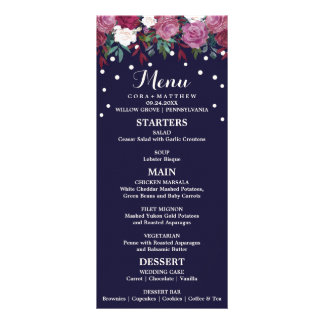 Marsala and Burgundy Floral on Navy Wedding Menu