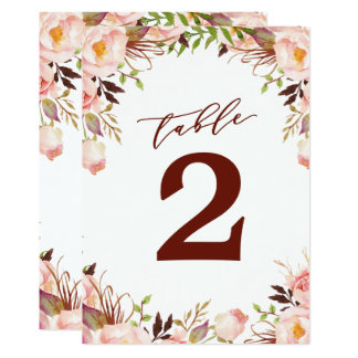 Marsala and Gold Boho Garden Table Number