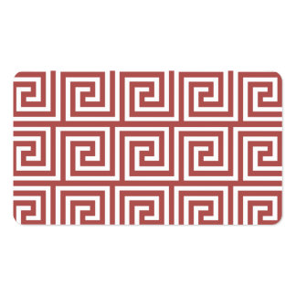 Marsala and White Greek Key Pattern Business Card Template